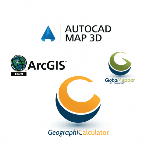 AutoCAD Map 3D, ArcGIS, Global Mapper, dan Geographic Calculator