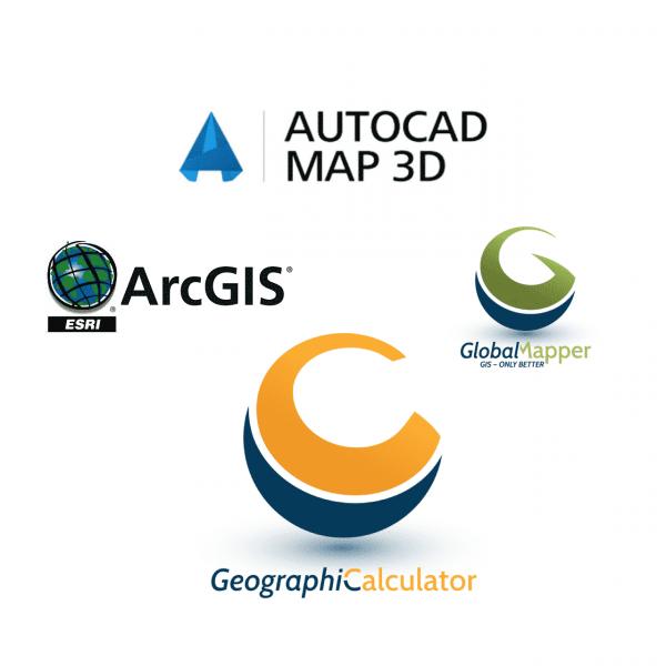 AutoCAD Map 3D, ArcGIS, Global Mapper, dan Geographic Calculator